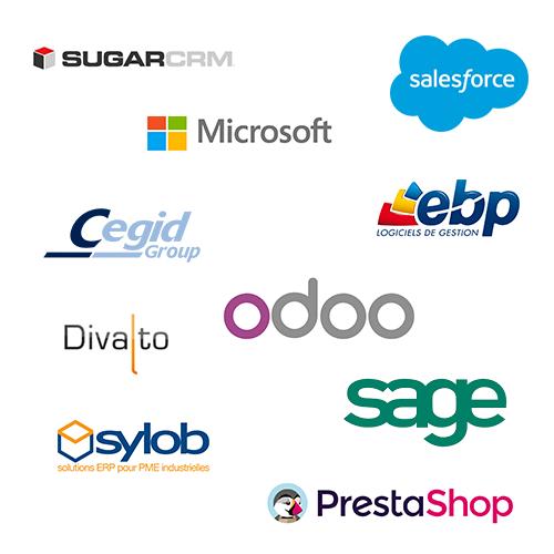 compatibilité avec les logiciels : SAGE MICROSOFT SUGARCRM SALESFORCE EBP ODOO PRESTASHOP DIVALTO CEGID